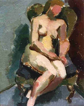 Weiblicher Akt auf Sessel, 1937